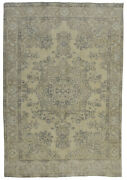 Vintage Turkish Antique-washed Rug 6and039x9and039 Beige/brown Hand-knotted Wool Pile