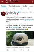 New Era Limited Edition 24 Rose Bowl Game Hat Football Cap Oregon Wisconsin Duck