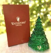 """Waterford Crystal Green Emerald 6.5"""" Christmas Tree Sculpture Figurine Mint, Box"""