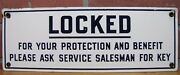 Locked For Your Protection Old Porcelain Restroom Ad Sign Ask Service For Key