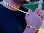 Mens 14k Gold Filled Thick Miami Cuban Link Choker 22 Inch Chain Bracelet 10mm