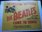 Beatles And039 A Rare Large Thick Card U.s. Beatles Original Movie Poster From 1964