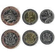 3 Coins From Nigeria. 2006. Unc 50 Kobo - 2 Naira. Old West African Currency