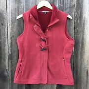 Horny Toad Co Plush Fleece Vest Toggle Buttons Zipper Red Size Large