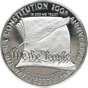 1987 S Constitution Bicentennial Proof Commemorative 90 Silver Dollar Us Coin