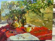 Joy Teapot Flower Oil Canvas Impressionism Painting Russian Signed Listed Artist