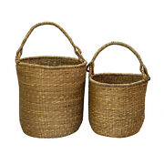 Hand Woven Seagrass Baskets With Handles Set Of 2