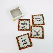 Set 4 Petit Point Christmas Sayings Coasters Needlepoint Green Red Sleigh Bells