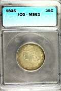 1835 - Icg Ms62 Capped Bust Quarter Hd0130