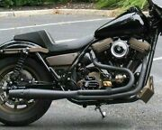 Black Thunderheader 2 Into 1 Full Exhaust System Pipe Harley Fxr Mid-controls