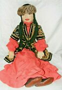 Large Individual Ooak Hand Made Russian Fabric Rag Doll Embroidered Face 32
