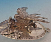 J E Caldwell Sterling Silver Berry Spoon 3-d Bird And Flower Leaf Bowl Art Silver