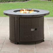 Gas Fire Pit Table Round Wicker Outdoor Patio Backyard Deck Heater Lid Cover New