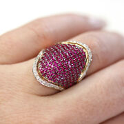2 Ct Natural Red Ruby Diamond Solid 14k Rose Gold Wide Finger Wrap Cocktail Ring