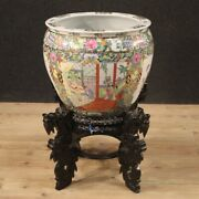 Vase Chinese Furniture Oriental Object In Painted Gold Ceramic Antique Style