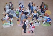 Collection 12 Norman Rockwell Porcelain Figurines Lot Danbury Mint 1980