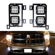 24w Cree Led Pods W/ Fog Lamp Mounting Brackets Wires For 2013-up Dodge Ram 1500