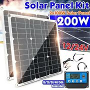 200w 2x 100w 12v Solar Panel Kit, 60a Solar Controller For Off Grid, Home, Rv