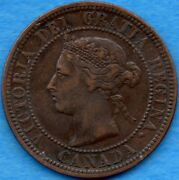 Canada 1882 H 1 Cent One Large Cent Coin - Very Fine+