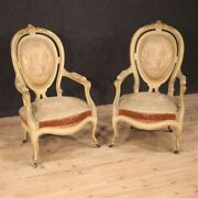 Pair Of Armchairs Antique Furniture Lounge Chairs In Lacquered Wood Seats 800