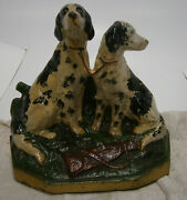 Hubley Cast Iron Door Stop/book End - 282 Hunting Dogs Setter/pointer
