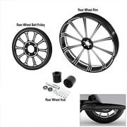 18 X 5.5and039and039 Rear Wheel Rim + Hub + Belt Pulley Sprocket For Harley Touring Models