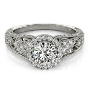 Solid 14k White Gold Womens 1.10 Ct Real Diamond Engagement Ring 5 6 7 8 Sale