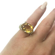 7.2 Ctw Natural Citrine And Diamond Solid 14k Yellow Gold East West Cocktail Ring