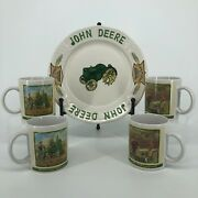 Lot Of 5 - Collectible John Deere Tractor Dinner Plate Coffee Cup Mugs