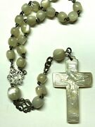 † Htf Antique Sterling Hand Cut Mori Cross Mother Of Pearl Rosary Necklace 26 †