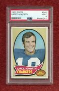 1970 Topps 240 Lance Alworth Psa 9 Mint Pop 22 None Higher Hof Chargers