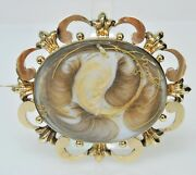 Antique Victorian 9k Gold Blond Blonde Brown Hair Mourning Brooch Pin Jewelry