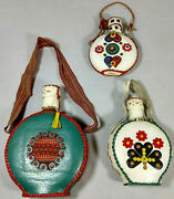 3 Vintage Folk Art Leather Wrapped Glass Flasks Decanters Canteens