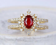 1.92ct Natural Ruby Diamond 14k Yellow Gold Ruby Gemstone Cocktail Ring