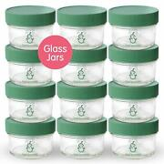 Glass Baby Food Storage Containers | Set Of 12 | 4oz Glass Baby Food Jars With