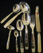 Vintage Danish Silver Plate Tinkerbell Harebell 12 Person Cutlery Set Absa