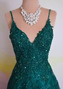 Green Prom 2020 Evening Pageant Formal Ball Gala Dress Wedding Gown L 10