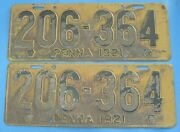 1921 Pennsylvania License Plates Matched Pair