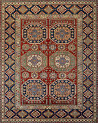Super Kazak Rug 8and039x10and039 Red/beige Hand-knotted Wool Pile
