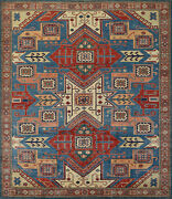 Geometric Super Kazak Rug 8and039x9and039 Blue/red Hand-knotted Wool Pile