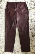 New Madewell Womenandrsquos Genuine Leather Slim Trousers Pants 2 Maroon Red 07226 699