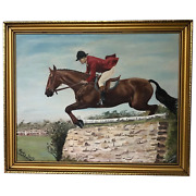 20th Century British Wall Art Oil Painting Show Jumping Champion Horse And Rider
