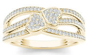 1.44ct Natural Round Diamond 14k Yellow Gold Valentine Heart Ring Size 7 To 9