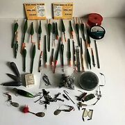 Anglers Vintage Job Lot Fishing Tackle Wooden Floats Hooks Line Weights Lures