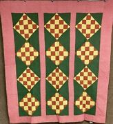 Blocks On Point C 1880-90s Patchwork Bars Pa Quilt Antique Green