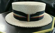 Vintage Cavanagh Hats Of New York Straw Boater Hat W E Walsh And Sons Albany