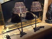 Maitland Smith Matching Pair Of Bronze Candle Stick Lamps With Shades