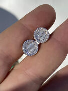 Menandrsquos Real Solid Sterling Silver Iced Round Baguette Diamond Hip Hop Earrings