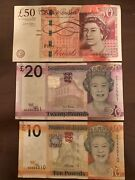 Jersey 10 + 20 And 50 England Pound Banknotes. 80 Pounds Total. Bank England. H