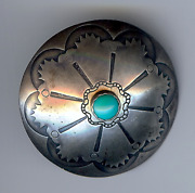 Extra Large Vintage Navajo Indian Silver Turquoise Button